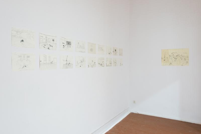 Mariusz Tarkawian, Zbyt mało miłości w polskich galeriach sztuki współczesnej, 2014, cykl rysunków. Fot. Tytus Szabelski
