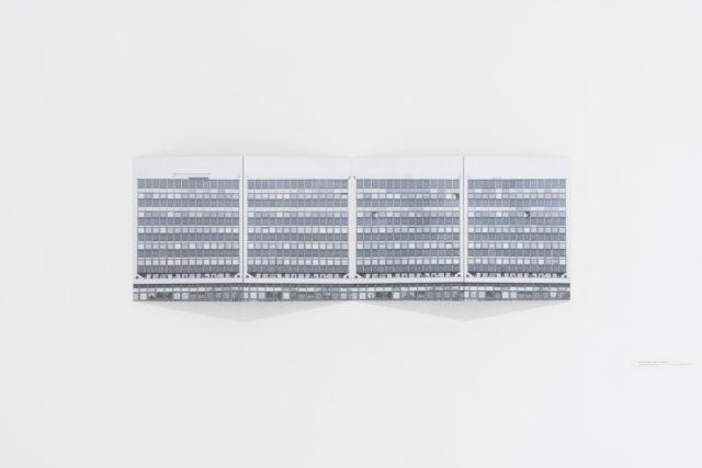 bez tytułu (rektorat) | untitled (rector's office) 2016, obiekt fotograficzny, cztery wydruki atramentowe, dibond | photographic object, four inkjet prints, dibond, 32x128 cm. Fot. Tytus Szabelski