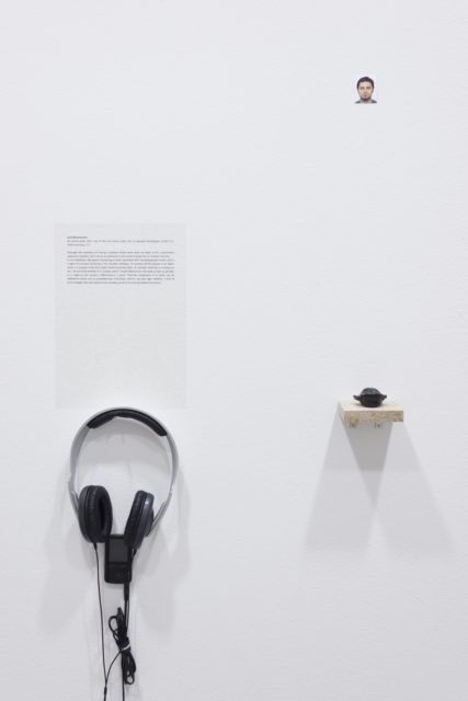 Lech Nienartowicz, My gentle smile, 2017, odlew wnętrza jamy ustnej, 5x5 cm, fotografia paszportowa, 3,5x4,5 cm, nagranie audio 1'21''. Fot. Tytus Szabelski