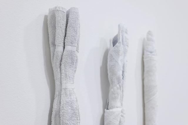 Natalia Wiśniewska, Marchewa, Burak, Szczurzy ogon, 2016, rzeźba (zużyte ręczniki, krochmal, farba), 103 x 80 x 10 cm. Fot. Tytus Szabelski 1